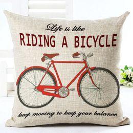 Wholesale black fabric chair - vintage cojines decorativos bike cushion cover bicycle sofa chair throw pillow case 45cm linen fabric almofada creative decor