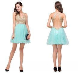 Wholesale Mint V Neck Cocktail Dress - 2017 New Mint V Neck Tulle Homecoming Dresses Lace Applique Beaded Crystals Backless Mini Short Party Cocktail Prom Dresses