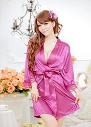 Wholesale Temptation Nightdress Dress Bathrobes - Sexy ice silk nightgown Temptation Nightdress dress Bathrobes Pajamas Lingerie G-string a349