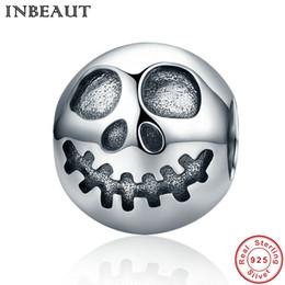 Wholesale Silver Sterling Head - INBEAUT Hot Sale 100% 925 Sterling Silver Ghost Face Skull Head Beads Charm Fit Pandora Bracelet Jewelry Halloween Gift
