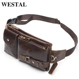 Wholesale Wholesale Leather Fanny Packs - Wholesale- WESTAL Genuine Leather Waist Packs Fanny Pack Belt Bag Phone Pouch Bags Travel Waist Pack Male Small Waist Bag Leather Pouch