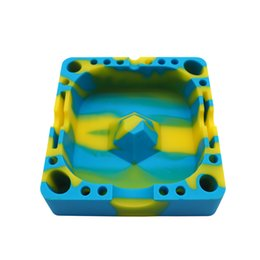 Wholesale Cool Home Gadgets - Colorful Friendly square style Silicone Ashtray for Home novelty Crafts Pocket Ashtrays for Cigarettes cool Gadgets colorful ashtray