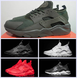 Wholesale Cheap Mens Canvas Shoes - Cheap Huarache IV Ultra Running shoes Huaraches trainers for Mens Women Black Red Dark green White shoes Triple Black Huraches sneakers