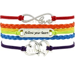 Wholesale Pride Bracelets - Custom-Infinity Love Follow Your Heart Pride Heart to Heart Charm Multilayer Wrap Bracelets Gift for LGBT Rainbow Leather Custom