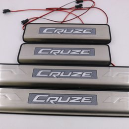 Wholesale Chevrolet Led Door Lights - Free Shipping LED Door Sill Plate Scuff Trim Stainless Fit CRUZE (2009--2012) blue light