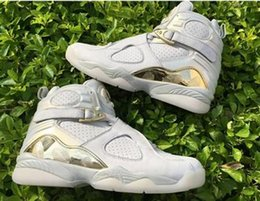 Wholesale Basketball C - Wholesale Top Quality Air 8 C&C CHAMPIONS CHAMPAGNE 832821-030 Basketball Geniune Leather White Golden 8 Mens Basketball Shoes
