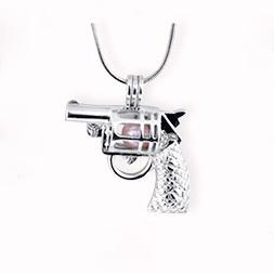 Wholesale Gun Charms Wholesale - New Design Gun Cage Pendant, Pistol shape Pearl Gem Beads Locket Pendant Mounting, DIY Jewelry Charms Accessory