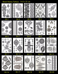 Wholesale tattoo classic - 10pcs lot Black Henna Tattoo Temporary Henna Tattoo Classic Mandala Tattoo! Unique Designs!