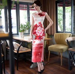 Wholesale Traditional Wedding Cheongsam - Long Silk Cheongsam Wedding Qipao Dresses Chinese Traditional Dress Robe Chinoise Flowern Qi Pao Vestido Oriental Evening Gown
