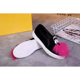 Wholesale Green Cartoon Characters - 2017Fendi Tidal current female shoes Cartoon character and pink plush decoration footwear Flat and comfortable Outdoor shoes