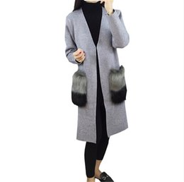 Wholesale Knitwear Cardigans - Wholesale- 2016 High Quality Fur Big Pockets Cardigan Trench Autumn Winter Women Long Coat Knitwear chaquetas mujer Knitted Coats