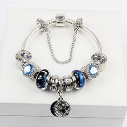 chains for glasses Coupons - Big hole National wind star glass bead moon pendant charm bracelet for women 2018 hotsell fashion free shipping