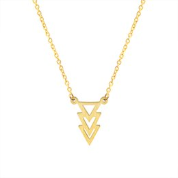 Wholesale Necklace Retro Geometric - Wholesale 10Pcs lot 2017 Retro Style Stainless Steel Jewelry Pendant Three Stacked Geometric Triangles Charm Silver Necklace Party Jewellery