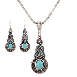 Wholesale Cheap Rhinestones Chokers - fashion jewelry Blue Crystal Statement Necklaces Women Lady Gourd-shaped Turquoise Choker Earrings Party Jewelry Set cheap wholesale
