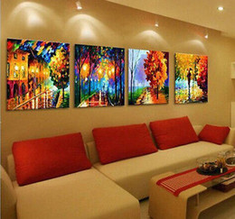 Wholesale Cheap Wall Art Decor - Wholesale cheap Abstract 100% hand-painted   Art Oil Painting Wall Decor canvas 4pc set
