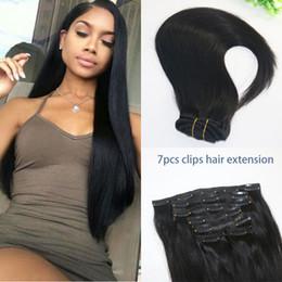 trame de cheveux bohème Promotion Pince à Cheveux Humains Droite Brésilienne En Extension de Cheveux 1B Couleur Naturelle Cheveux Vierges Humains Africaine 7PCS Afro Américaine