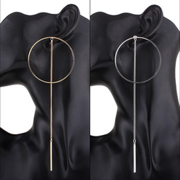 Wholesale Metal Jewelry Hoops - hot sale fashion jewelry designer popular stylish woman lady metal long hoop big circle tassel dangle chandelier earring