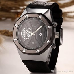 Wholesale Skeleton Watch Hot Silver - 2016 hot sale automatic skeleton quartz watch for a man to leave the shore background transparent blue dial watch