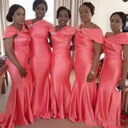 Wholesale celebrities bridesmaids dresses - African Celebrity Neckline Bridesmaid Dresses Water Melon Ruffles Mermaid Maid Of Honor Gowns Wedding Formal Party Dresses For Women Satin