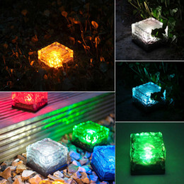 Wholesale Solar Light Bricks - Solar Powered Waterproof Glass Ice Cube Brick Blocks LED Light Outdoor Garden Path Lamp Underground Solar Pathway Light Holiday Decor Light