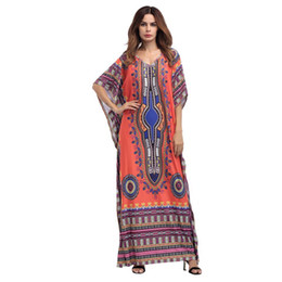 Wholesale Boho Gypsy Maxi Dress - Summer Boho Gypsy Tribal Tunic Long Maxi Dress Women Sleeve Sundress Traditional African Print Dashiki Loose Party Dresses