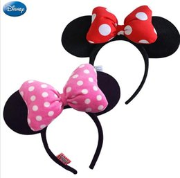 Wholesale Hair Hoops For Girls - Disney Original Headdress Head Hoop Mickey Minnie Mouse Ears Girls Hair Bands Head Hoop Plush Toys Bag Keychain For Children