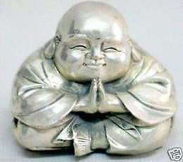Wholesale Carved Buddha Jewelry - Chinese tibet silver carved happy buddha figurine Jewelry Gift Christmas