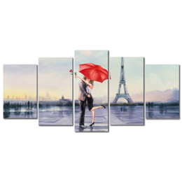 Wholesale Love Picture Frames - Modern 5 pcs set Canvas Prints Love in Paris by Oil Paintings on Canvas Wall Art for Bedroom