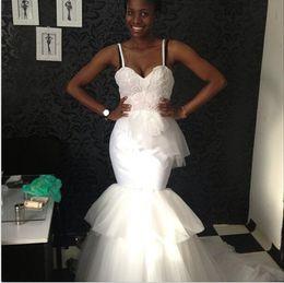 Wholesale Satin Peplum Wedding Dress - 2017 Vintage Wedding Dresses Spaghetti Lace Appliques Bodice Peplum Tiered Skirts Mermaid Elegant Country Bridal Gowns
