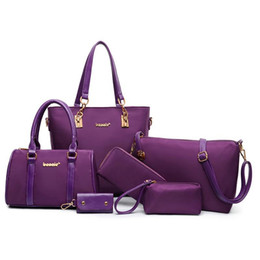 Wholesale Purse Handles Leather - Fashion Bags Totes Womens 6 Pcs Top-Handle Handbag Tote Purse Set Shoulder Bag Pu Leather Girl Tote Purse for Ladies