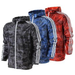 Wholesale Coat Wide Sleeves - 2017 New Spring And Fall New men sports jacket hooded jacket casual Fashion Thin Windbreaker Zipper Coats Free Shipping