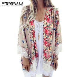 Wholesale Dress Flare Coat - TINDERALA Woemen bohemian style ponchos dress straight three quarter lace coat Knee-Length with flare sleeve sweet print ladies ponchos