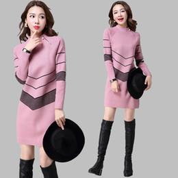 Wholesale Korean Mini Dress Sexy - Wholesale-2016 Korean Fashion Women Autumn Winter Warm Knitted Sweater Dresses Half Turtleneck Long Sleeve Sexy Mini Knitwear