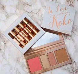 Wholesale Blush Glitter - Kylie Koko lipstick Kollection In Love with the New 4 color and Koko 4 colors Palette Blush Highlighter Contour Cosmetics eyeshadow