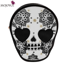 Wholesale Crossbody Bags Skulls - Wholesale- Halloween Skull Printing Women Crossbody Shoulder Bag PU Leather Skull Design Women Messenger Bags Handbag and Purses