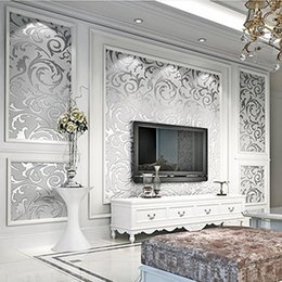 Wholesale Gold Room Wallpaper - Foreign hot European 3D stereo Lang leaves non-woven wall paper 0.53*10m gold silver room TV background wallpaper