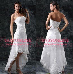 Wholesale Hi Lo Wedding Gowns - 2017 Summer Beach Hi-Lo Full Lace A Line Wedding Dresses Strapless Appliques Short Formal Lace-up Back Vestidos Bridal Gowns CPS110