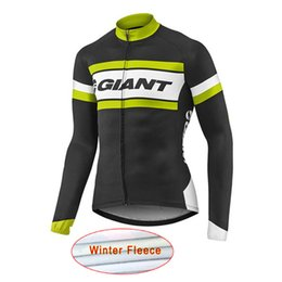 Wholesale Giant Winter Thermal - New Giant Pro Team Men's Winter Thermal Fleece Cycling Jersey Long Sleeve Tour De France bike cycling clothing mtb bicycle shirt A1605