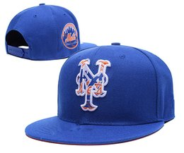 Wholesale Ny Flat Brim Caps - hot New York Mets Fitted Caps Ny Letter Embroidery Logo Baseball Cap Flat-brim Mets Hat Team Size Caps