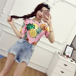 Wholesale Ladies Stylish Summer Tops - Wholesale- [Alphalmoda] 2017 Summer Women Stylish Printed T shirts Short Sleeve Pineapple Sequined Costumes Lady Woman Printed T-shirt Tops
