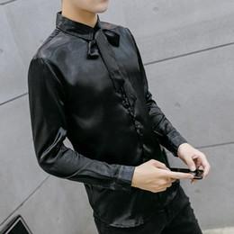 Wholesale Mens Designer Bow Ties - Wholesale- 2017 Fashion Lace Bow Tie Mens Long Sleeve Silk Shirts Black Vintage Designer Mens Tuxedo Shirt Slim Fit Casual Dress Men Shirt