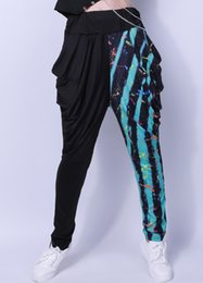 Wholesale Kids Hip Hop Dance Pants - Kids Adult Spring jazz Skinny pencil Sweatpant Costume wear Exclusive Black Camouflage Strip Patchwork harem Hip Hop Dance Pants