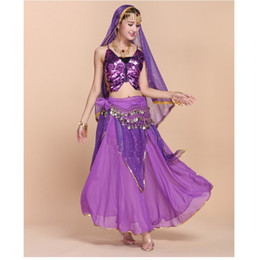 Wholesale Wholesale Exotic Clothing - Wholesale High-End Sexy Indian Belly Dance Dress 6PCS Butterfly Bra Tops+Highlights Skirt+Veil+Belt Costume Women Exotic Clothing Set