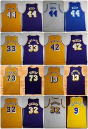 Wholesale Basketball Wilt Chamberlain - Throwback Basketball Jersey 44 Jerry West Artest Worthy Kareem Abdul-Jabbar Magic Johnson Dennis Rodman Wilt Chamberlain Nick Van Exel Shirt