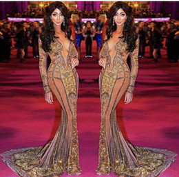 Wholesale Mermaid Dresses Feathers - Yasmine Petty walk the red carpet Celebrity Dresses New Long Sleeve 2017 V Neck Formal Evening Dresses