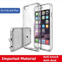 Wholesale Crystal Phone Plugs - PC Hard Back + Soft Flexible Clear TPU Frame Phone Case For iPhone 6 6s 7 & 7 Plus Crystal Transparent Back Cover With Dust Plug