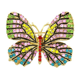 Wholesale Beautiful Butterfly Brooch - Wholesale- For Valentine's Day Beautiful Multi Color Crystal Diamante Pave Butterfly Pins and Brooches for Women in Assorted Colors