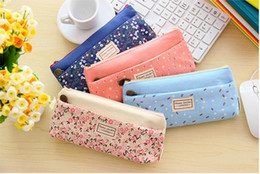 Bolsas de lápis floral on-line-Nova Moda Pequeno padrão floral multicamadas moda dupla zíper lápis caso sacos de artigos de papelaria Bolsa Maquiagem Kit Frete grátis