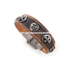 Wholesale Couple Bracelet Male Female - Minimalist Retro Fashion Jewelry Male And Female Couple Brown Leather Bracelet Wristband Punk Cuff Wide Bracelets & Bangles