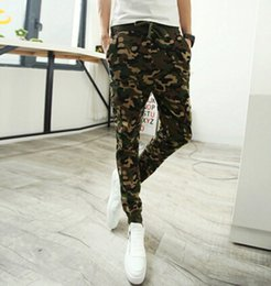 Wholesale Pants Korean - Wholesale-mens joggers solid color printing men pants camouflage pants feet Korean version of Harlan pants style youth sweatpants